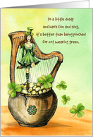 Happy St. Patrick's Day Dancing Irish Lass Pot of Gold and Shamrocks card
