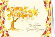 Thanksgiving for Grandma and Grandpa Give Thanks Autumn Tree card