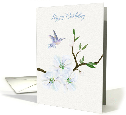 Happy Birthday Hummingbird with Magnolia Flowers card (1486940)