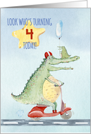 Happy 4th Birthday for Boys Crocodile Riding a Scooter card