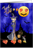 Halloween Witch with Broomstick Trick or Treat Mouse with Wand card