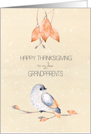 Happy Thanksgiving for Grandparents Blessings Autumn Leaves and Bird card