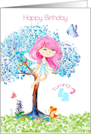 Happy 4th Birthday for Girl Cute Fairy Fox and Butterflies card