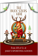 Business Holiday Custom The Buck Stops Here Reindeer card