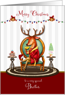 Christmas for Brother The Buck Stops Here Holiday Reindeer card