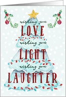 Love Light and Laughter Watercolor Christmas Tree card