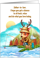 Happy Father's for Father in Law Whimsical Deer Fishing card