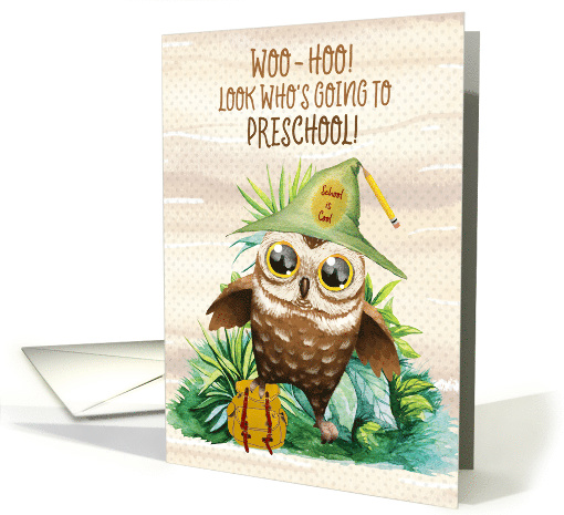 Preschool Back to School Owl with Backpack card (1580014)