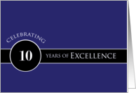 Business Employee Appreciation 10 Years Blue Circle of Excellence card