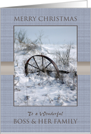 Merry Christmas to Boss and Her Family ~ Farm Implement in the Snow card