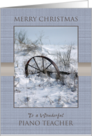 For a Piano Teacher on Christmas ~ Farm Implement in the Snow card