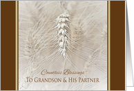 Thanksgiving Wheat To Grandson and Partner ~ Countless Blessings card