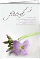 Friend - Thank You Card with Purple Flower card