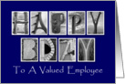 Employee Happy Birthday - Blue - Alphabet Art card