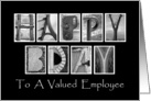 Employee Happy Birthday - Alphabet Art card