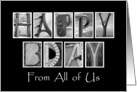 From All of Us - Happy Birthday - Alphabet Art card