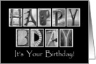 It's Your Birthday - Belated Birthday Card - Alphabet Art card