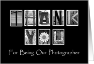 Thank You to our Wedding Photographer - Alphabet Art card