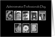 Administrative Professionals Day - Great Job - Alphabet Art card