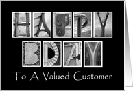 Customer Happy Birthday - Alphabet Art card