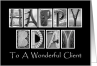 Client Happy Birthday - Alphabet Art card