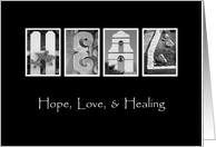 Hope, Love & Healing - Surgery Recovery - Alphabet Art card