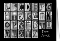 Teacher Retirement Congratulations - A to Z - Alphabet Art card