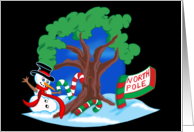 Snowman at the North Pole card