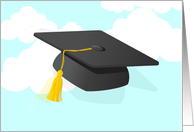 Congratulations college graduate cap thrown in sky! card