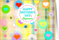 Happy Mother's Day, Stepmom, plaid pastels, hearts and buttons! card