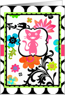 Happy Birthday for My Favorite Kitty, Tropical Floral, on Polka Dot! card