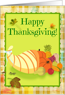 Happy Thanksgiving Cornucopia on Green with Plaid Background! card
