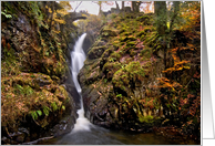Autumn waterfall photo, Aira Force, The Lake District - Customisable card