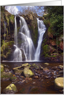 Waterfall, cascade, Valley of Desolation, Yorkshire Dales - Blank card