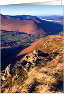 View from Cat Bells, Sunshine and Shade, The Lake District - Blank card