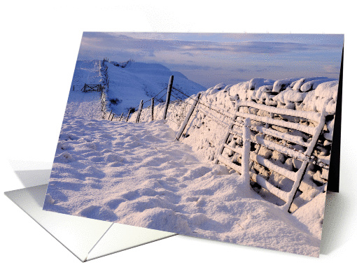 Snow covered wall in early morning light - Blank card (876963)
