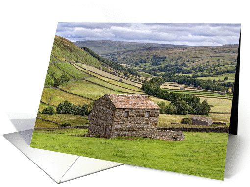 Barns and dry stone walls, Swaledale, The Yorkshire Dales - Blank card
