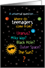 Funny/Sweet Space Teen Birthday Card