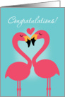 Cute Flamingos Lesbian Wedding Congratulations card