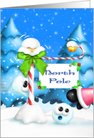 Merry Christmas, Whimsical, Humorous Snowball & North Pole Sign card