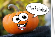 Funny Evil Laughing Pumpkin Halloween Card