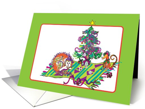 christmas- christmas tree cat mouse cartoon funny humor card (884859)