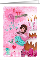Happy Birthday - Girl & Birthday Cake card