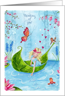 Thinking of You - I love you Leaf Boat Fantasy card