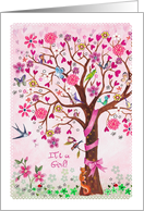 Congratulations - It´s a girl - tree card
