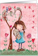 Happy Birthday - Little Girl with her dog pet - Spring card