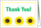 Thank You With Three Sunflowers card