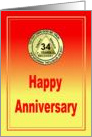 34 Year, Medallion Happy Anniversary card