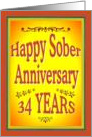 34 YEARS Happy Sober Anniversary in bold letters. card