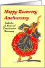Happy 22 Year Recovery Anniversary, a woman dancing. card